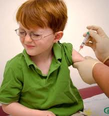 Boy getting a flu shot