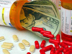 pill bottle with pills over money